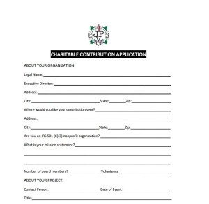Charitable Contribution Application
